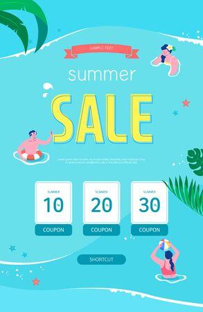 Summer Sale Poster, Web Banner, Pop-Up, banner template design. seasonal discount vector Illustration. 向量圖像