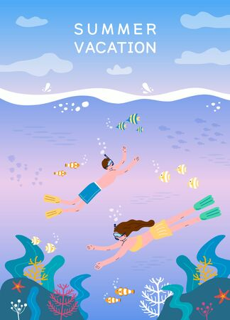 Exciting summer travel illustration design