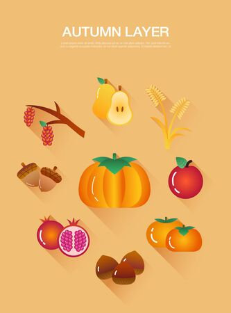 A collection of autumn fruit and autumn vegetables layers Illustration