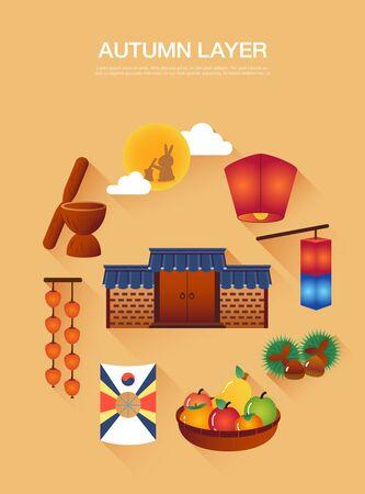 Autumn Korean traditional layer collection Illustration