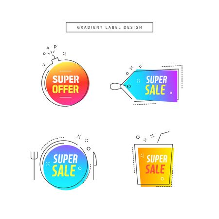 Modern abstract gradient shapes for shopping, sale promotion, discount title frame.