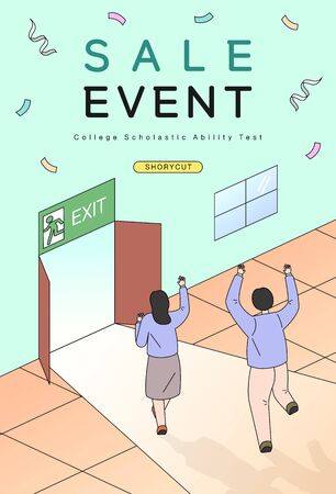 examinees discount event drawn with line illustration