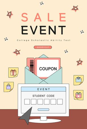 examinee's discount event drawn with line illustration Stock Illustratie