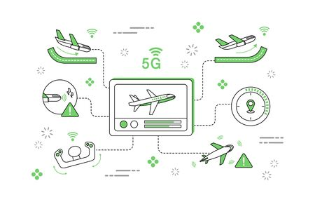 Simple 5G line illustration collection