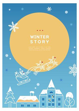 Winter frame line drawing illustration Ilustração
