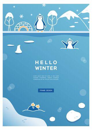 Winter frame line drawing illustration Illustration