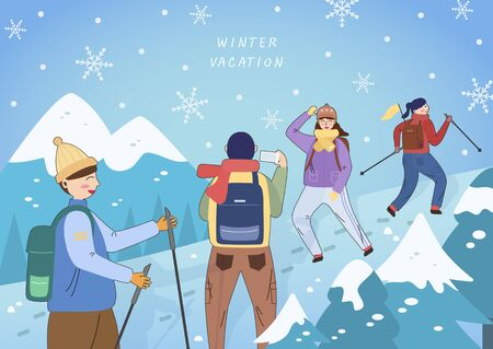 Exciting winter travel line illustration 向量圖像