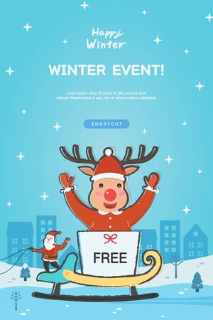 Winter shopping popup illustration collection
