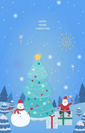Christmas illustration emotion a lot of snow coming Ilustração