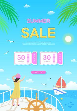 Cool summer holiday shopping pop up Vector Illustratie