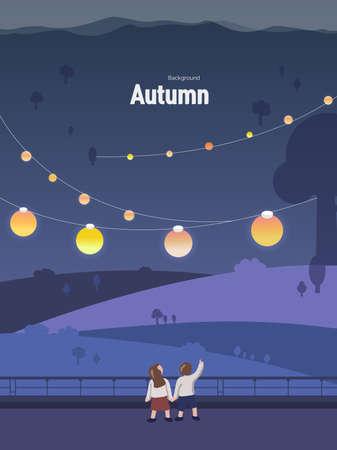 Autumn emotion illustration: Autumn Lantern Festival