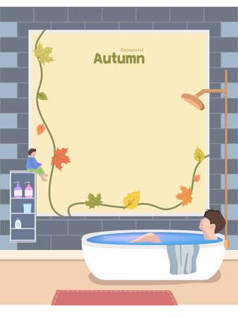 Autumn emotion illustration: Autumn bath
