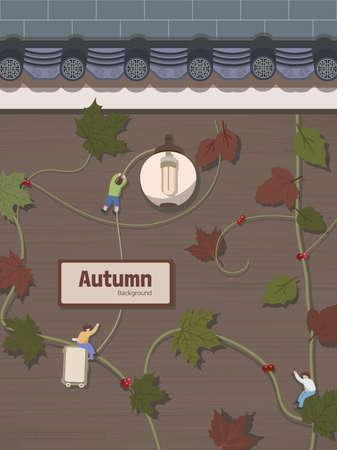 Autumn emotion illustration: vine and villain Ilustracja