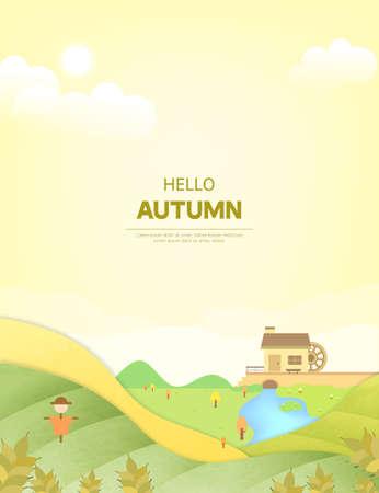 autumn illustration frame: Rural autumn scenery Illustration