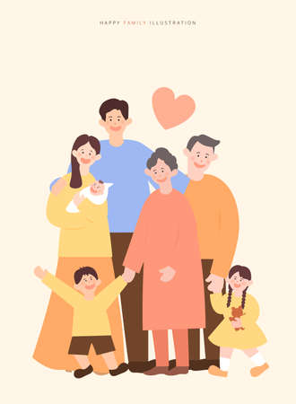a collection of harmonious family illustrations
