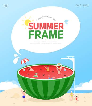 Cool Summer Welcoming Frame Design Vector Illustratie