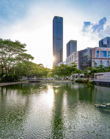 scenic spots: Houhai Shenzhen city view during the day