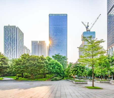 Landscape view of a city skyline Stock Photo
