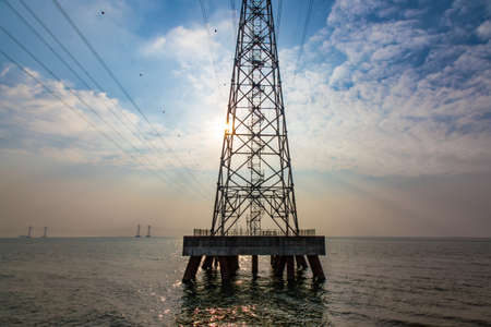 High voltage transmission line on the West Bay Park, Shenzhen Stock Photo