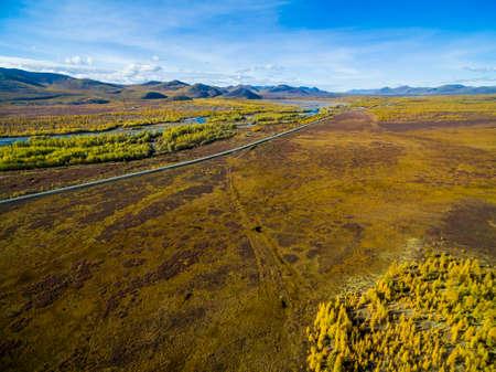Vista aérea del bosque en el Lejano Oriente, Rusia