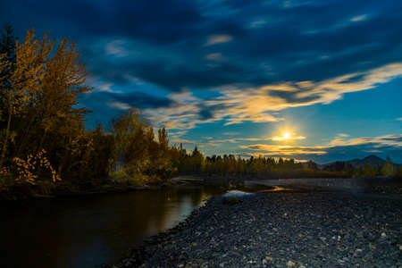 Beautiful panoramic view of lake and forest at night Archivio Fotografico