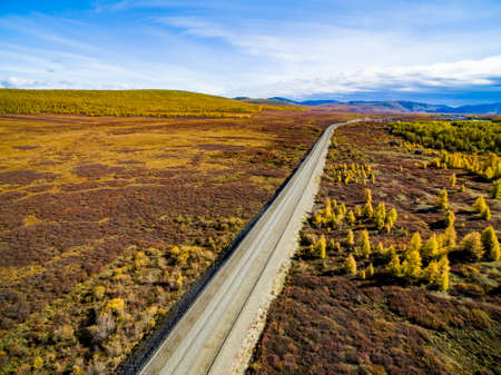 Aerial view of car driving through the forest on country road. Russia.