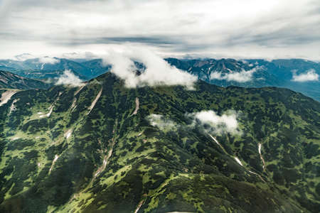 Aerial view of landscape with mountains on Kamchatka peninsula, Russia Archivio Fotografico