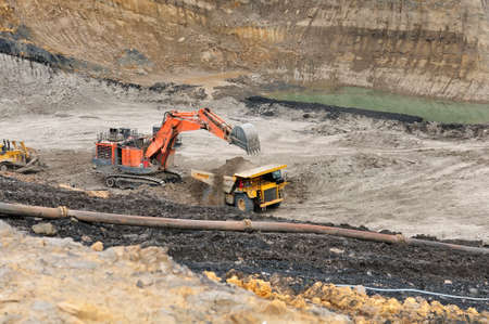 Loading Overburden on open pit coal mining Stock Photo