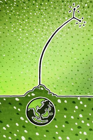 terrena: Un globo sotto la terra con un satellite che estende innalzano per ricevere informazioni.  Archivio Fotografico