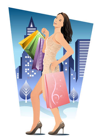Una mujer hermosa a un montón de bolsas de compras y pasear por la ciudad durante la noche.