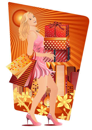 retail place: A beautiful woman carried shopping bags and gift boxes in summer Illustration