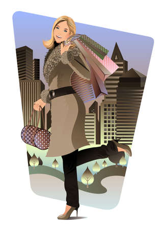 A beautiful woman carried a lot of shopping bags and walking in the city at night. Stock Vector - 10257416