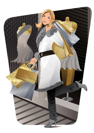 A beautiful woman carried shopping bags during sales. Vector