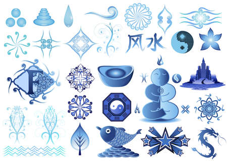 Feng Shui icons and elements. Vector
