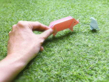 Hand hold the origami pig and another bird on the grass.