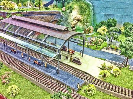 estacion de tren: Fondo la estaci�n de tren de juguete.