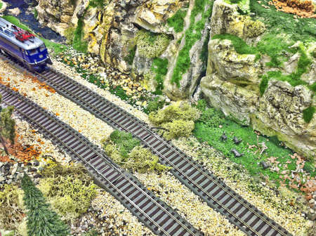 Toy train background. Stock Photo
