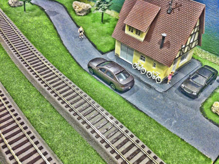 Toy train track background. Stock Photo