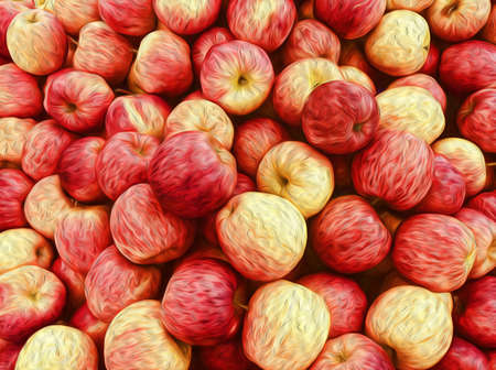 Oil painting apples background