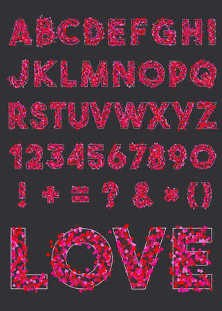 Vector alphabet of various shapes of hearts for valentines day.