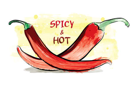 Watercolor spicy and hot chilli peppers.
