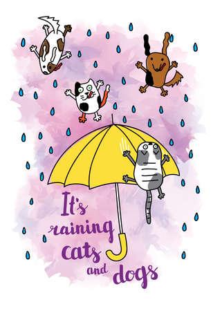 """Carte d'automne """"Il pleut des chats et des chiens"""". Chute de gouttes de pluie et parapluie avec chats et chiens. Carte postale d'automne lumineux. Illustration vectorielle."""
