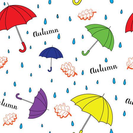 Seamless autumn pattern with umbrella. Bright autumn postcard. Vector illustration.