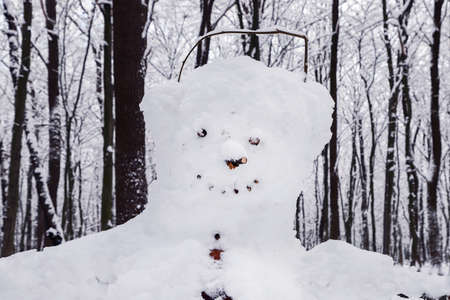 Cheerful smiling snowman in the park.