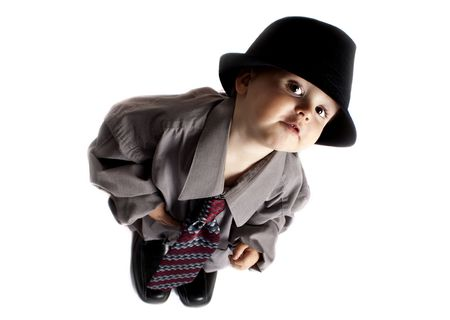 toddler playing dress up Stock Photo