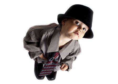 toddler playing dress up Stock Photo