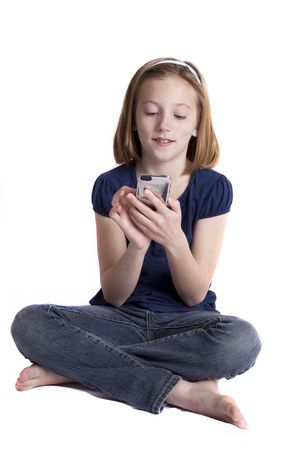 young girl texting Stock Photo - 7352098