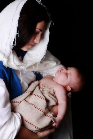 Mary holding a sleeping baby Jesus Stock Photo