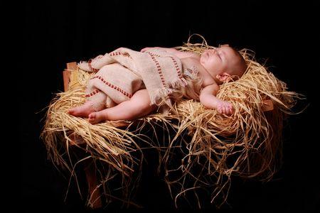 pesebre: Baby dormido de Jes�s en el pesebre