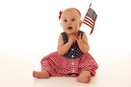 Patriotic baby waving American flag